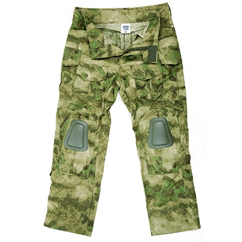Sommer Woodland Tarnmuster (Kommando Hose FG Tarn Bestes Tarnmuster KSK Uniform Airsoft Ripstop Einsatz Tactical US Camo A-Tacs Kampf Protektoren , Farbe:Oliv, Größe:Herren L)
