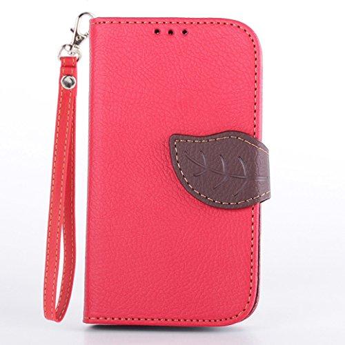 AllDo PU Leder Hülle für Microsoft Nokia Lumia 520 Brieftasche Schutzhülle Mappen Kasten Klapp Hülle Flip Wallet Case Folio Cover Weiche Flexible Schale Schlanke Dünne Tasche Leichte Etui Anti-stoß Anti-Kratz Lederhülle Anti-Rutsch Staubdichte Handyhülle Standfunktion Standfunktion mit Magnetverschluss und Kartenschlitz (+1*Gurt) - Rot (520 Lumia Nokia Telefon-kasten)