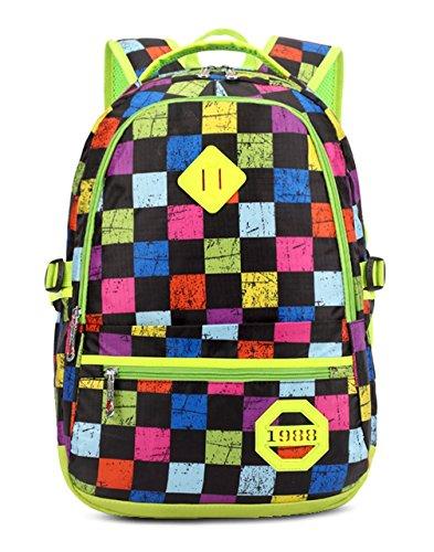 Keshi neuer Stil Schulrucksäcke/Rucksack Damen/Mädchen Vintage Schule Rucksäcke mit Moderner Streifen für Teens Jungen Studenten Grün