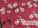 Mamasliebchen Jersey-Stoff Bikes All Over #Berry (0,5m) Fahrrad Bike Meterware