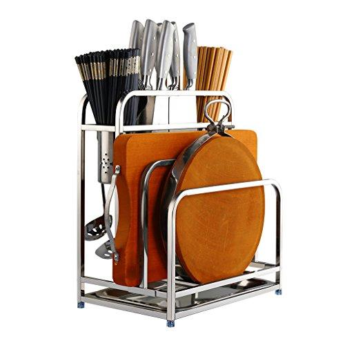 Küchenmöbel-WXP 304 Edelstahl Küchenmesser Halter Stäbchen Tube Racks Dual-Board Küche Halter mit Wasser Geschirr Racks WXP-Küchenschränke und Besteckschränke