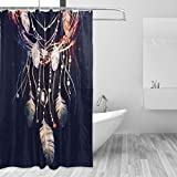 JSTEL Dreamcatcher Boho Schimmel resistent und wasserdicht Polyester Duschvorhang, Stoff-72x 72cm, extra lang, Deko-Liner mit Haken