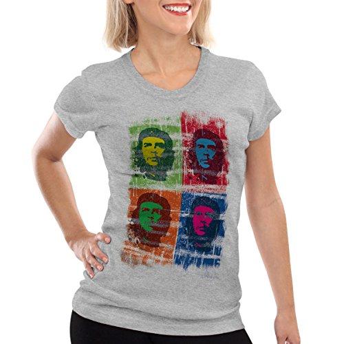 Andy Warhol Revolution (style3 Che Guevara Pop Damen T-Shirt Kuba Revolution, Farbe:Grau meliert;Größe:L)