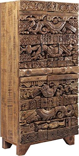 Kare Schrank Shanti Surprise Puzzle Nature, schmale, hohe Echtholz Kommode aus Mango Holz, braune Design Hochkommode, (H/B/T) 180x85x45 cm