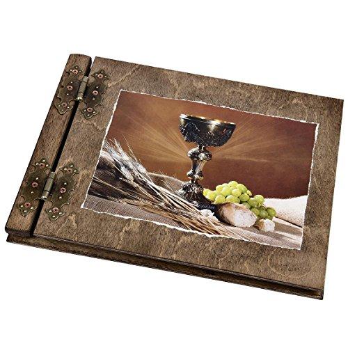 25 Blatt Holz Fotoalbum Kommunion mit heiligem Gral