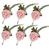 Famibay Boutonniere Corsage Fleur Mousse Broche Femme Pin pour Costume Robe(Rose,Lot de 6)