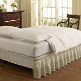 Easy Fit 11578QUEEN/KINGIV Wrap Around Eyelet Ruffled Queen/King Bed Skirt 80-Inch by 60-Inch with 18-Inch drop, Ivory
