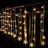 Lichtervorhang Sterne, Led Lichterkette fenster mit EU-Stecker, warmweiße Weihnachtsdeko für Vorhang, Weihnachten, Halloween, Hochzeit, Clubs, Kinderzimmer, zu Hause, Deko Party Innen/Außen