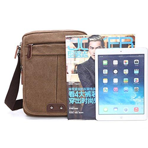 Outreo Vintage Umhängetasche Herren Taschen Canvas Schultertasche Herrentaschen Messenger Bag Kuriertasche für Tablet Reisen Sport Schule SportReisetasche Braun