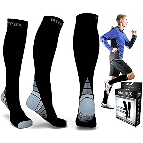 Compression Socks for Men & Women, BEST Graduated Athletic Fit for Running, Nurses, Shin Splints, Flight Travel, & Maternity Pregnancy. Boost Stamina, Circulation, & Recovery - Includes FREE