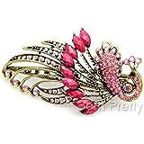 Shiny Rhinestone Studded Hair Clip Pretty Peacock Shaped Hair Pin # pink