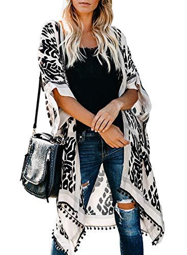 FIYOTE Damen Florale Kimono Cardigan - Chiffon Tops Cardigan Bluse Shawl Sommer Beachwear Cover up Leichte Boho Strand Jacke - Floral Kimono Top