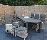 lifestyle4living Gartentisch, Balkontisch, Terrassentisch, Aluminiumtisch, Aluminium, Cherry-Board, Metall, anthrazit, grau 240 x 100 cm