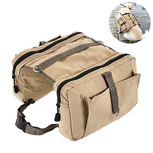 YAJAN-PetBag Hunderucksack Reisen Camping Wandern Hund Backpack zum Wandern leichte Hunde Packung Training Bag Verstellbare Harness Dog Satteltasche mit 4 PaketenBaumwolle Canvas Rucksäcke