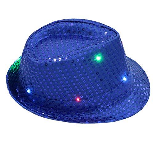 Huntforgold Erwachsene Partyhut Pailetten LED Hut Fedora Hüte Jazz Caps für Party - Fedora Hut Kostüm