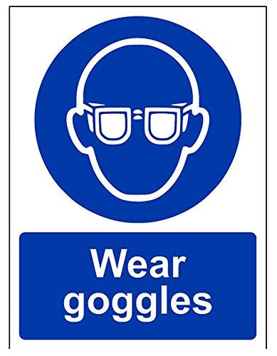 VSafety - 41040AN-S - Segnale di obbligo dispositivi di protezione individuale Wear Goggles (Lingua italiana non garantita), autoadesivo, verticale, 150x 200mm, blu