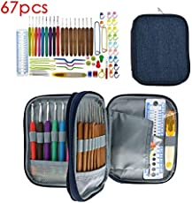 Ergonomic Crochet Hooks Set, Leegaol 67 PCS Premium All-in-One Soft Handle Aluminum Crochet Hook, Knitting Needle Kit DIY Accessories Set with Canvas Bag, Comfortable Grips for Arthritic Hands