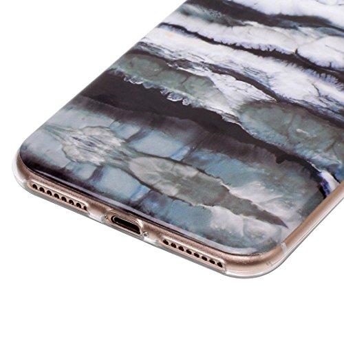 iPhone 7 Plus Hülle Marmor, iPhone 8 Plus Case Rosa Schleife Ultra Dünn Slim Silikon Backcover mit Bunte Marmor Muster Bumper Schale Schutzhülle Handyhülle für iPhone 7 Plus / 8 Plus Schwarz Marmor