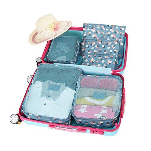2 Stück Drawstring Pyjama Set (Baffect® Reise Gepäck Verpackung Cube Organizer Taschen Wasserdichte Polyester und Mesh Kosmetik Fall Kleidung Unterwäsche Schuhe Koffer Gepäckaufbewahrung Taschen Set von 6 Stück (Blume))