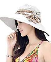 FakeFace Ladies Girls Packable Wide Brim Floppy Sun Hat with Flower Brooch Lace Band Quickly Dry UPF 50+ UV Protection Travel Holiday Beach Camping Hats Caps Topee Headwear for Summer Fall Spring