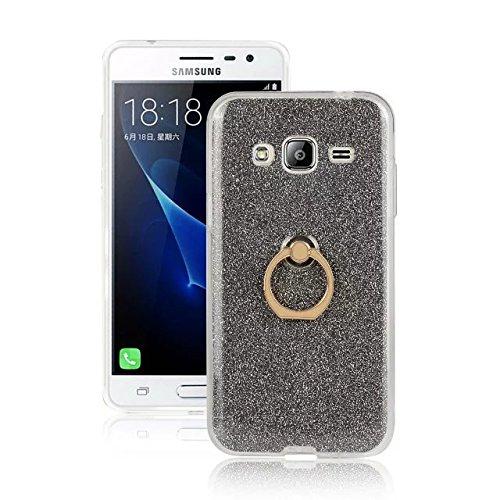 Luxus Bling Sparkle Style Case, Soft TPU [Silikon] Flexible Glitter Rückentasche mit Fingerring Stand [Anti Scratch] [Shockproof] für Samsung Galaxy J3 (2016) ( Color : Gold ) Black