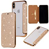 Yobby Coque pour iPhone XS Max,Ultra Slim Cuir Glitter Paillette Or Cuir Rabat...