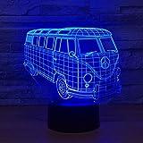 YXYH Kühle Auto Bus 3D LED Illusion Nachtlicht7Farbwechsel Schlafzimmer Lampe Für Kinder Spielzeug Kreative Geburtstagsgeschenke Home Office Party Dekorationen (Farbe, Touch)