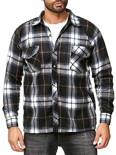 Egomaxx camicia uomo in pile lumberjack a quadretti, colore:grigio, dimensione giacca:xxxl