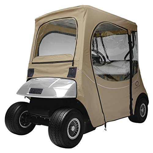 Classic Accessories Fairway Golf Cart FadeSafe Enclosure for E-Z-Go, Short Roof, Khaki