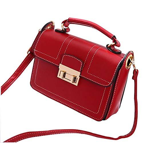KT Damen Handtaschen, Mode Simple PU Leder Multi-Function Portable Handtasche Adjustable Shoulder Strap,Red,21 * 6.5 * 14cm -