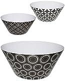 Unbekannt 3 Stück _  Retro Design Muster - schwarz  - große Schalen / Kunststoffschalen / Schüsseln - Popcornschalen - HOCH - aus Melamin / Kunststoff Plastik - für E..