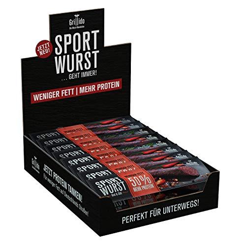 Grillido Sportwurst Rind&Chili 25er Pack| Die Beef Jerky Alternative ohne Zucker | 40% Eiweiß und weniger als 15% Fett -