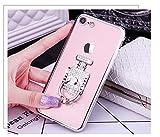 Ukayfe iPhone 6 Plus/6S Plus Argent Coque en Silicone Placage Housse Etui de Protection Souple Cristal Clair Gel TPU Bumper avec Bouteille de Parfum Ring Holder Support Housse Case Couverture Etui