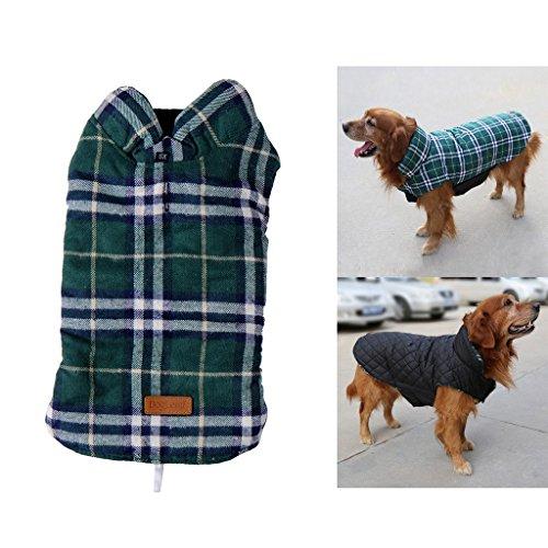 PupGo gemütlicher windundurchlässiger britischer Art-Plaid-Hundeweste-Winter-Mantel-warmer Hundekleid für Kalt-Wetter-Hundejacke (XXL, (Kostüm Bulldogge Französische Baby Für)