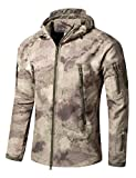 Taktisch Softshell Fleecejacke Camouflage Militär Hoodie Outdoor Wandern Camping Warm Innenfutter Winddicht Wasserdicht Mantel Jacken Skijacke (3XL, Ruins Grey)
