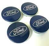 Set von 4 Ford Alufelgen Mitte Nabenkappen 54mm Abdeckung BLUE Silber Logo Rad Abzeichen Ka Kuga Fusion Fiesta Focus Mondeo Galaxy C-MAX S-MAX und andere Modelle