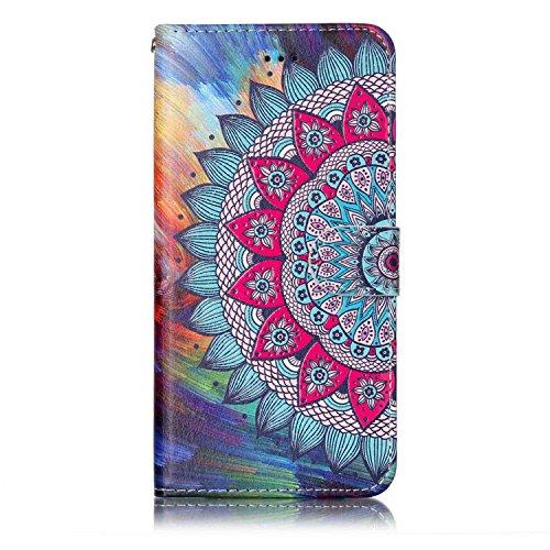 Jinghuash Kompatibel mit iPhone 6 Hülle,iPhone 6S Lederhülle PU Leder Flip Case Brieftasche Klapphülle Tasche HandyHülle für iPhone 6/iPhone 6S-Halbe Blume