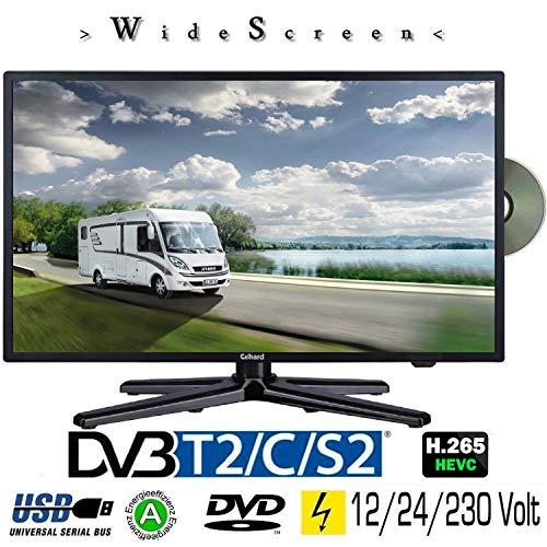 Gelhard GTV-2082 LED 20 Zoll Wide Screen TV DVD DVB/S/S2/T2/C 230/12 Volt 24 Volt für Wohnmobil Camping KFZ LKW Truck und Zuhause (Angeordnet Dvd)