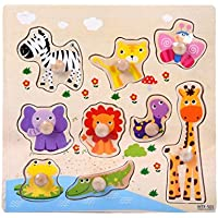 Winkey Toys for Age 1 2 3 4 5 6 Years Old Baby Boys Girls, 9 Piece Wooden Animal Puzzle Jigsaw Early Learning Baby Kids Educational Toys