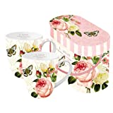 PPD Jardin Rose Henkelbecher, 2er Set, Kaffeebecher, Kaffee Tasse, Porzellan, Weiß / Bunt, 350 ml, 600897