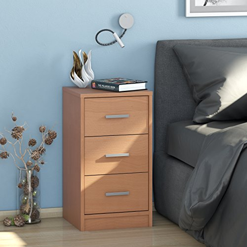 lisel-de Nachtkommode Maja MÖBEL mit 3 Schubladen/Nachttisch in Buche - 37x68x35cm Kommode