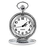 Cuitan Quarzo Orologio da Tasca con Catena (circa 37,5 centimetri) Orologio da Taschino con Coperchio Pocket Watch, un Regalo Buono per i Vostri Amici e Familiari (Argento)