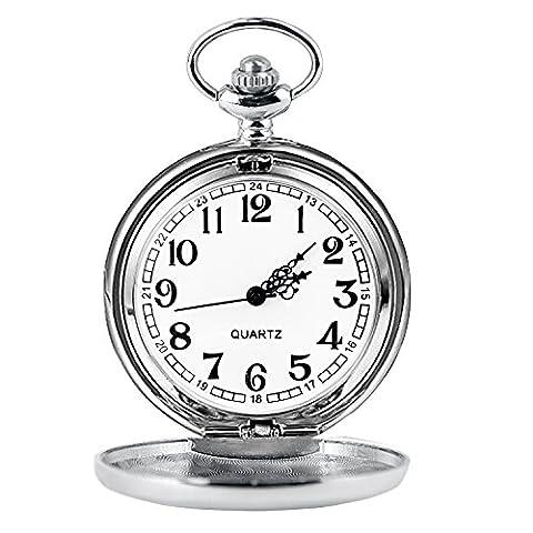 Cuitan Montre de Poche avec ca. 37,5cm Chaîne, Surface Polie Pointeur Chiffres Arabes Quartz Unisexe Rétro Montre à Gousset Pocket Watch pour Hommes et Femmes - Argent