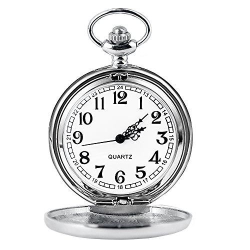 Cuitan Unisex Retro Taschenuhr mit etwa 37,5cm Halskette Kette, Polierte Oberfläche Zeiger Arabische Ziffern Quarzwerk Kettenuhr Umhängeuhr Pocket Watch für Herren und Damen - Silber (Voll Pferd Kostüme)