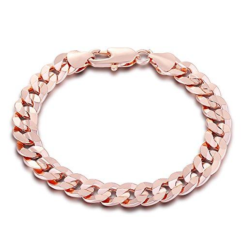 Trendsmax Ragazzi Uomini Catena della Rosa braccialetto placcato oro taglio rotondo frenare Cuban Link, 9 millimetri largo