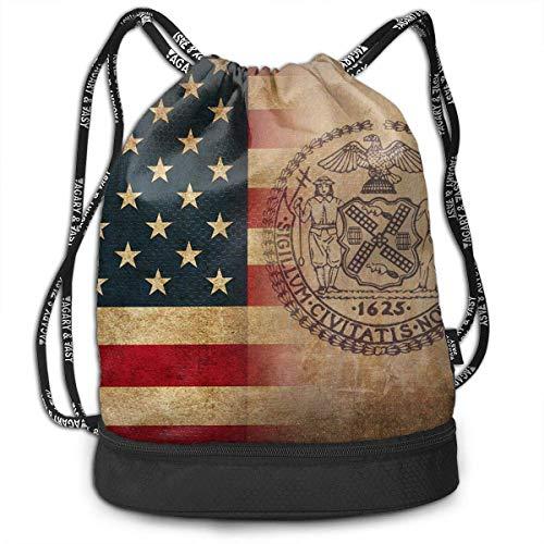USA New York City Flag Art Multipurpose Drawstring Backpack Bag Bundle Pocket Daypack Gym Bag for Gym Travel