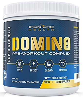 DOMIN8 - Premium Pre-Workout Concentrate - Enhanced Focus, Mental Clarity & Intensity - Two Serving Sizes for Tailored Results - Up to 100 Servings - 8 Active Ingredients - Guaranteed Results! from Calibre Nutrition