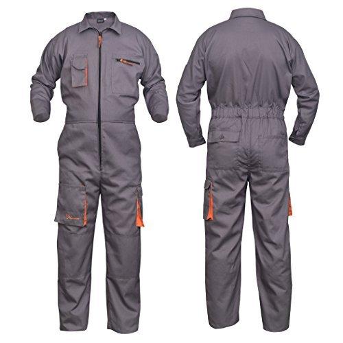 NORMAN Grau Arbeitskleidung Herren Latzhose Monteuranzug Overalls Mechaniker Blaumann Schützende - grau, XXX-Large
