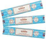 Lot de 3 paquets de bâtonnets d'encens Satya Nag Champa - Parfum Karma