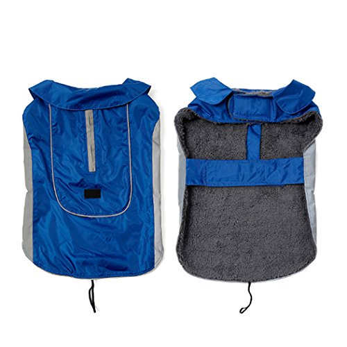 mioim Hunde Regenjacke Regenmantel Wasserdicht Hundemantel Hundejacke Warm Winter Faltbare mit Reflektierende Streifen Blau L
